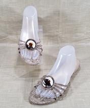 Stuart Weitzman Slide Sandals Gold Rhinestones Swirled Marble Womens 9.5M Beige - $65.44
