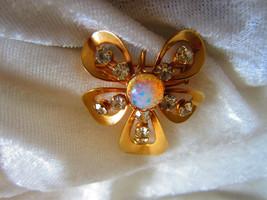 Vintage brooch pin gold tone rhinestone stone flower pendent  Mod - $22.00
