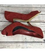Franco Sarto Renaldo Ruby Suede - Open Toe Heels -Size 8 - $24.24