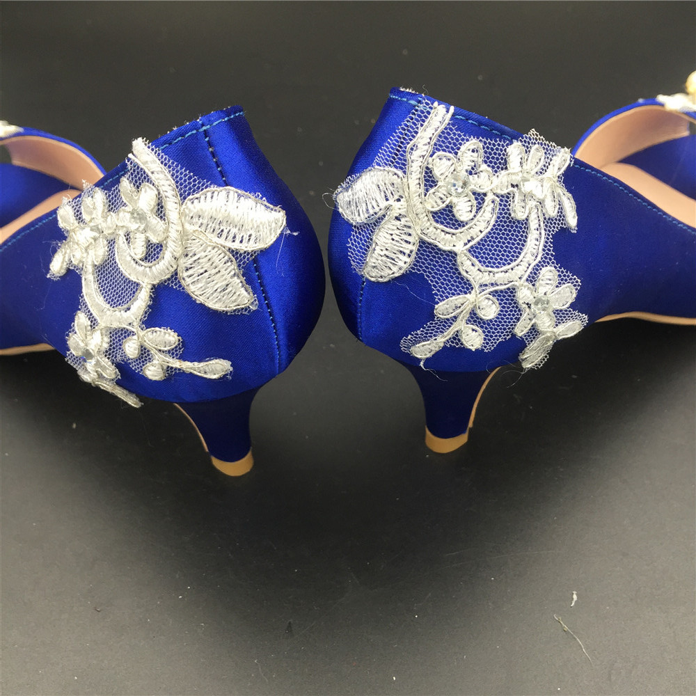 Women Blue Lace Pearls Satin Low Heels Wedding Shoes,RoyalBlue Lace Bridal Shoes image 3