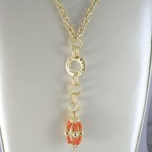 SILVER 925 NECKLACE YELLOW GOLD PLATED WITH HANGING CHARM MILLED AND CARNELIAN image 3
