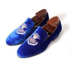 Handmade Men's Blue Velvet Embroidered Slip Ons Loafer Shoes image 2