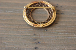 Vintage Danecraft 12k Gold Filled Filigree Brooch Size: 2.8cm diameter - $44.54