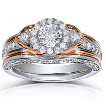 Two Tone Plated 925 Silver Round Cut Simulated Diamond Bridal Wedding Ri... - $77.51
