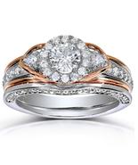Two Tone Plated 925 Silver Round Cut Simulated Diamond Bridal Wedding Ri... - $94.52