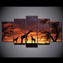 5 Pcs Giraffe Sunset Home Decor Wall Picture Printed Canvas Painting - $45.99+