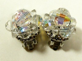 "Vintage Aurora Borealis Crystal beads Round Flower Cluster clip on Earrings 3/4"" - $25.74"