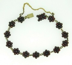 Genuine Natural Bohemian Garnet Rose Cut Link Bracelet 13 Rosette (#J4504) - $300.00