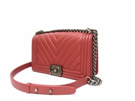 AUTHENTIC CHANEL 2018/2019 RED CHEVRON QUILTED CAVIAR MEDIUM BOY FLAP BAG RHW image 2