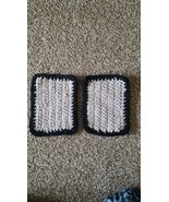Handmade crochet Potholders Set for kitchen oven Gray And Black - $10.99
