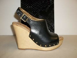 Sam Edelman Size 10 M CAMILLA Black Leather Wedge Heel Sandals New Women... - $107.91
