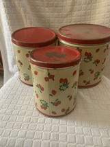 Set of 3 Vintage nesting National Can Co NY  Strawberries Strawberry Can... - $39.55