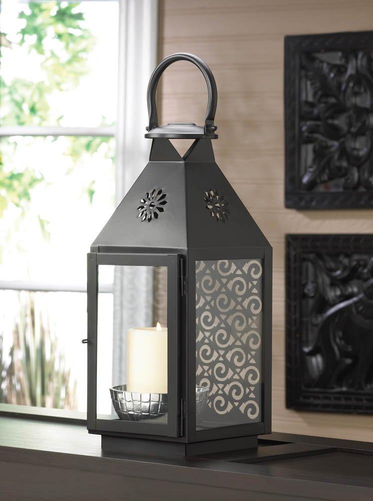 Candle Lanterns Decorative, Hanging Black Metal Lantern Candle Holder - Iron