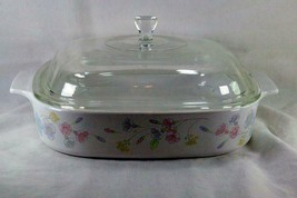 Corning Ware Pastel Bouquet A-10-B 2.5 Quart Square Baking Dish With Lid... - $22.49