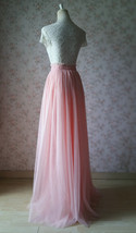 Coral Pink Tulle Skirt Bridesmaids Long Tulle Skirt High Waisted Coral Wedding image 4