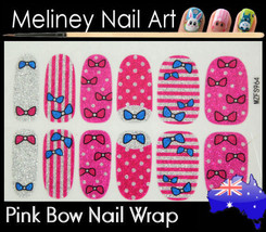 Pink Bow tie Full Cover Glitter Nail Art Wraps Stickers Pattern Stripes - $5.40