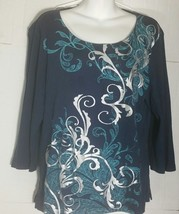 Karen Scott Top Large L Tunic Print Boho Silver Embellished Shirt Blue - $11.87