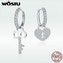 925 Sterling Silver Key Lock Drop Earrings Zircon Love Heart BNngle Earr... - $23.89