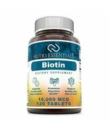 Nutri Essentials Biotin 10000 Mcg Tablets Dietary Supplements (Non-GMO) - $14.84