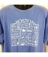 Boston Souvenir Mens XL Tee Shirt Blue Purple Short Sleeve Graphic Comfo... - $29.99