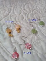 Earrings - have appearance of Japanese lantern due to symbols on bead - $4.00
