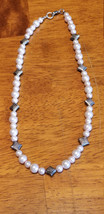 Pink Toned Faux Pearl and Silver Accent Necklace - $14.00