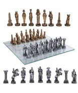 Romans Vs Egyptians Chess Set With Glass Board Set - $59.39