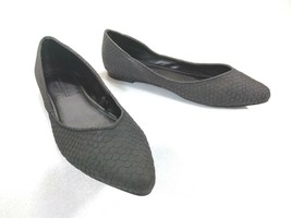 AMERICAN EAGLE Black Faux Snake Textured Pointed Toe Ballet Flats Shoes size 5 - $7.48