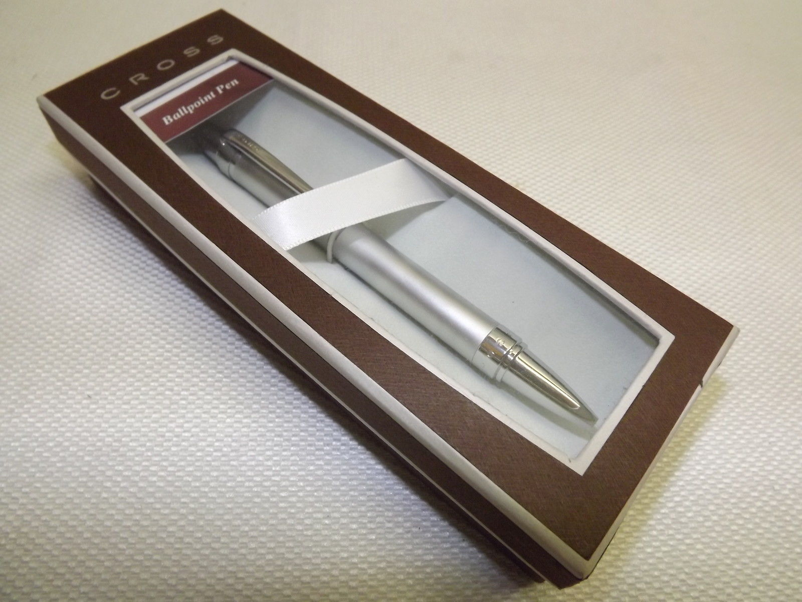 NEW CROSS BRUSHED CHROME BALLPOINT PEN WITH POLISHED CHROME APPOINTMENTS
