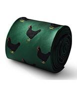 Frederick Thomas dark green tie with black chicken embroidered design - $17.06