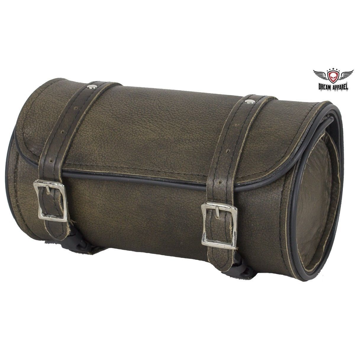 """Distressed Motorcycle Tool Bag Dark Brown Leather 10"""" Universal Front Back Fork"""