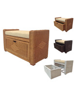 Rattan Wicker Chest Storage Ottoman Eva With Cushions - $179.99