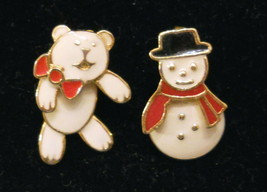 Pierced Earrings Berebi Teddy Bear & Avon Snowman - A Unique Marriage ✿  - $19.75
