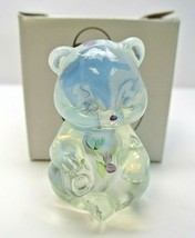 """2000 Fenton Glass French Opalescent Handpainted """"Lavender Petals"""" Sitting Bear - $29.99"""