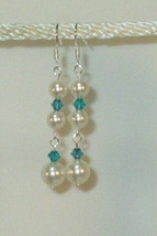made w Teal SWAROVSKI Crystal & Cream Pearl Element Earrings Medium HM - $13.37