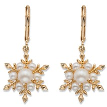 Simulated Pearl 14k Gold-Plated Snowflake Drop Earrings - $30.94