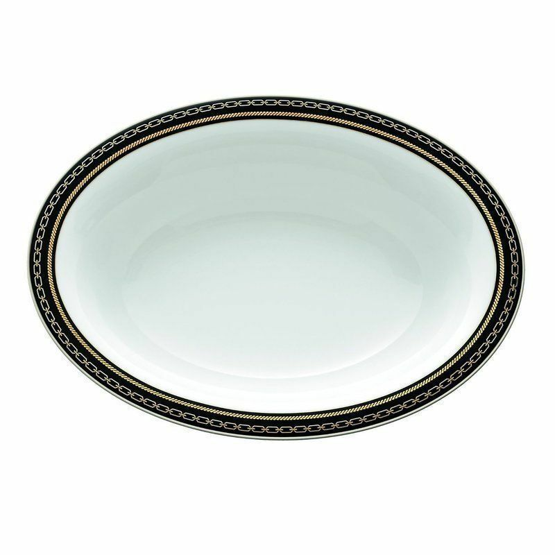 Vera Wang WEDGWOOD WITH LOVE NOIR OVAL VEGETABLE SERVING BOWL NEW - $79.19