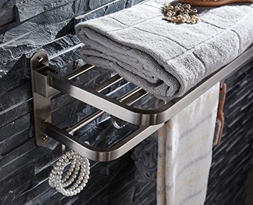 ELLO&ALLO for for Bathroom Shelf Double Towel Bar Holder with Hooks Wall Mounted