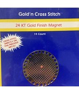 Needleform Round Circle Gold N Cross Stitch 24KT Gold Plated 14 Ct Magnet - $7.38
