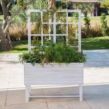 Weathered White Eucalyptus Wood Planter Box With Trellis Outdoor Gardening - $221.97 CAD