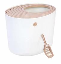 IRIS Top Entry Cat Litter Box with Cat Litter Scoop, White & Beige - $29.01
