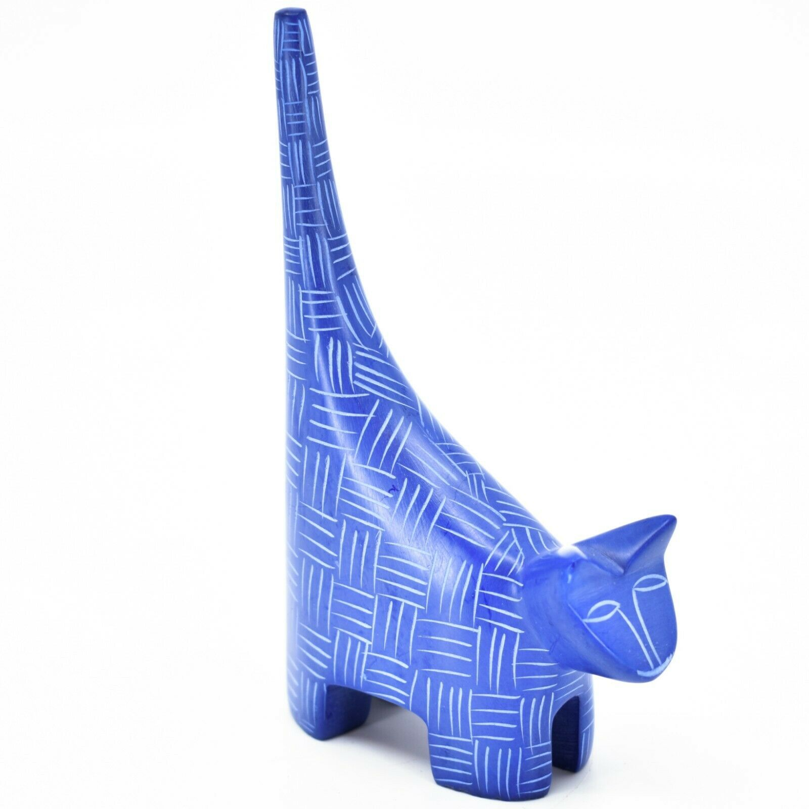 """Vaneal Group Hand Carved Kisii Soapstone Dark Blue Tail Up Cat 5"""" Figurine"""