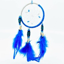"""Handcrafted Miniature 9"""" Blue White Dreamcatcher Plastic & Wood Beads Feathers"""