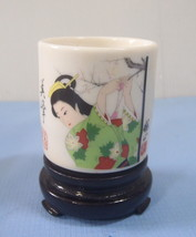 Japanese porcelain bonsai pot Japanese lady in kimono motif with stand 66 c - €12,36 EUR