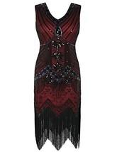 kayamiya 1920s Gastby Dress Sequin Art Nouveau Embellished Fringed Flapp... - $42.41