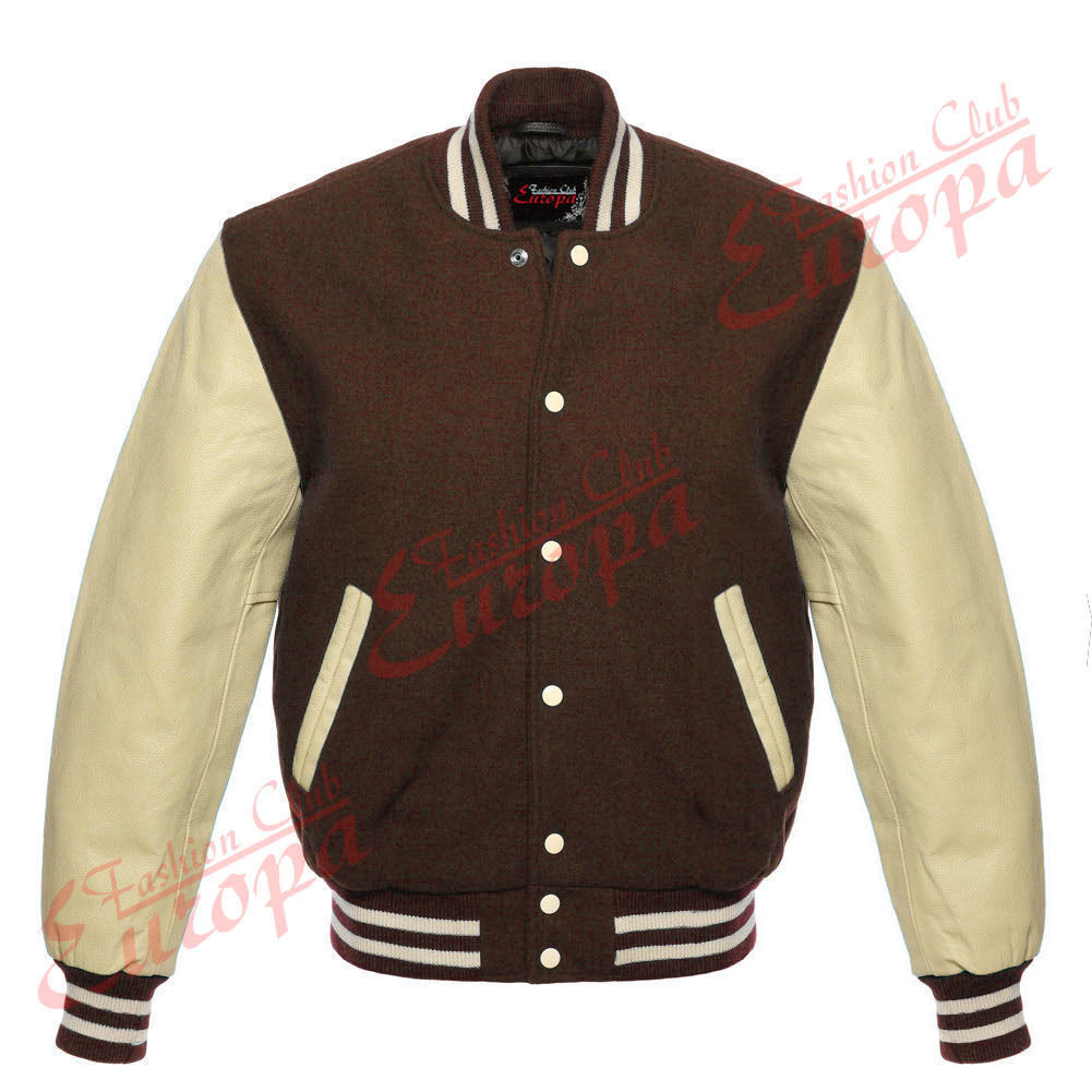 Primary image for Brown Varsity  Letterman Wool Jacket with Real Leather Sleeves XS-4XL
