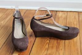 Kate Spade 9.5 M Brown Suede Platform Wedge Ballet Ankle Strap Heels Abigail - $47.03