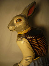 Vaillancourt Folk Art Large Lady Rabbit 12 in Beautiful Piece Signed image 4