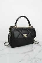 AUTH NEW CHANEL BLACK DIAMOND QUILTED LAMBSKIN TRENDY CC HANDLE FLAP BAG  image 2
