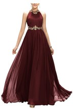 Appliques Beaded Long Chiffon Bridesmaid Dress Jewel Prom Party Evening ... - $119.00
